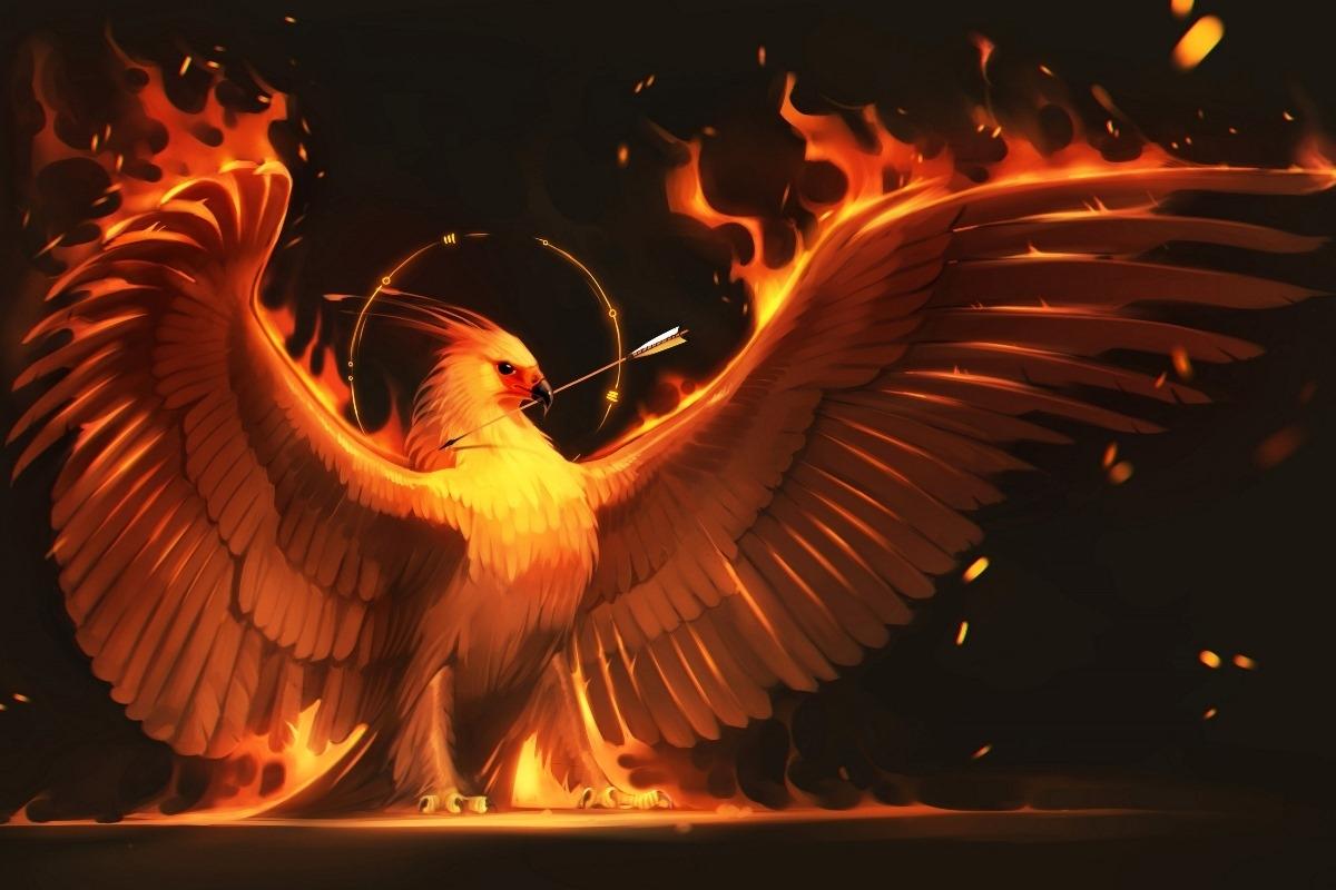 fire arrow phoenix bird art wings fire birds fantasy flame fm30