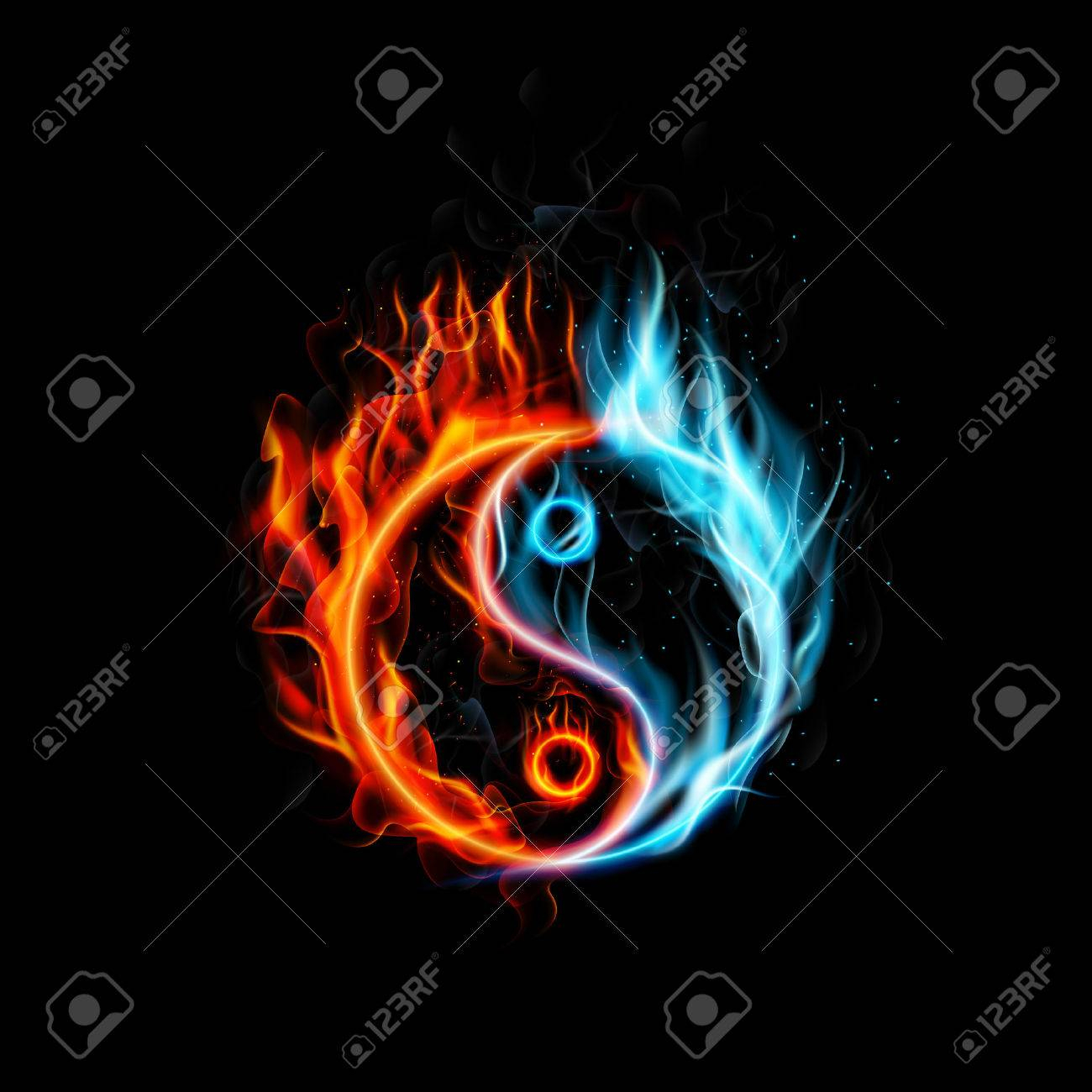 fire burning yin yang with black background stock photo, picture and