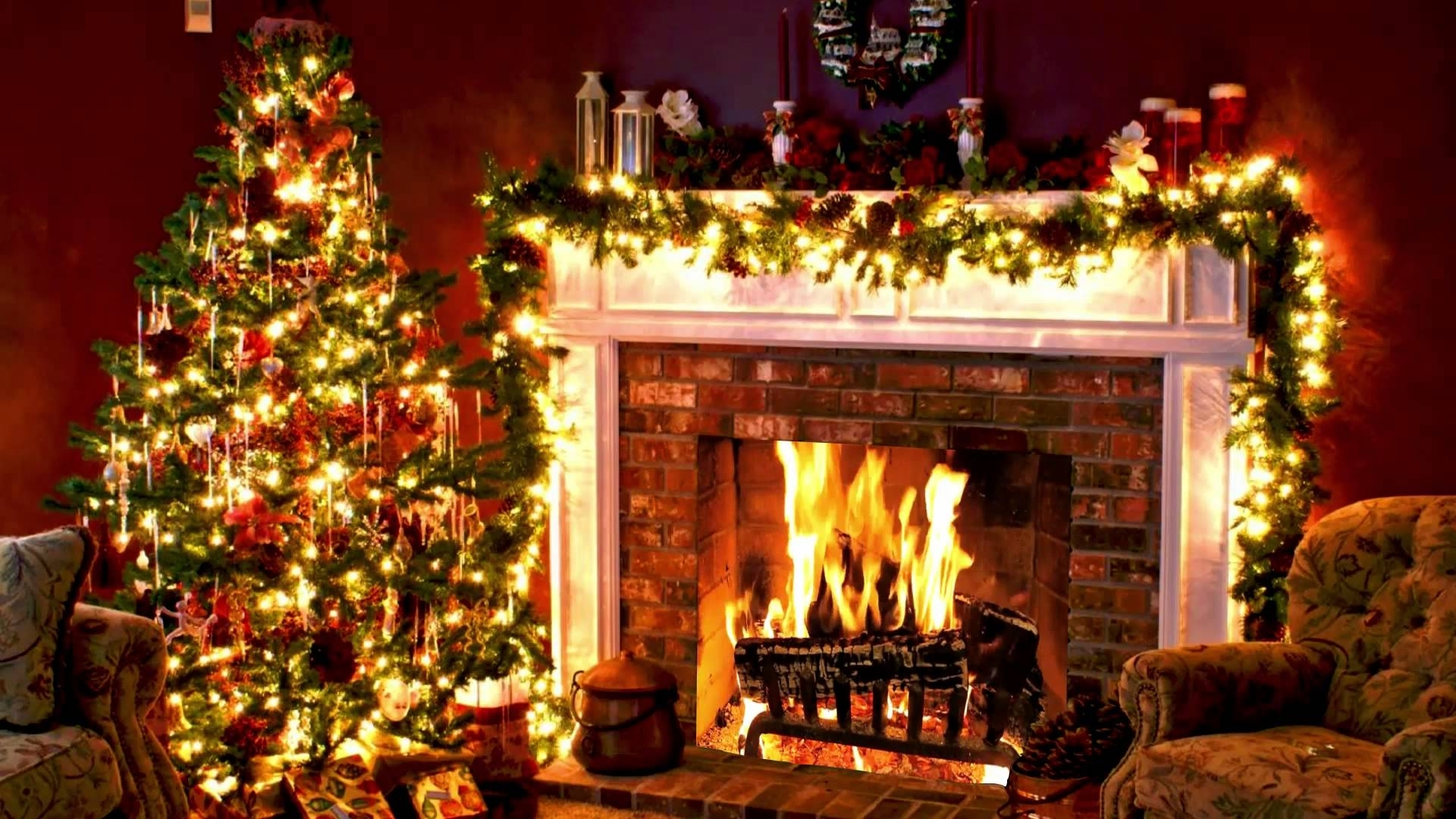 fireplace christmas tree full hd - youtube