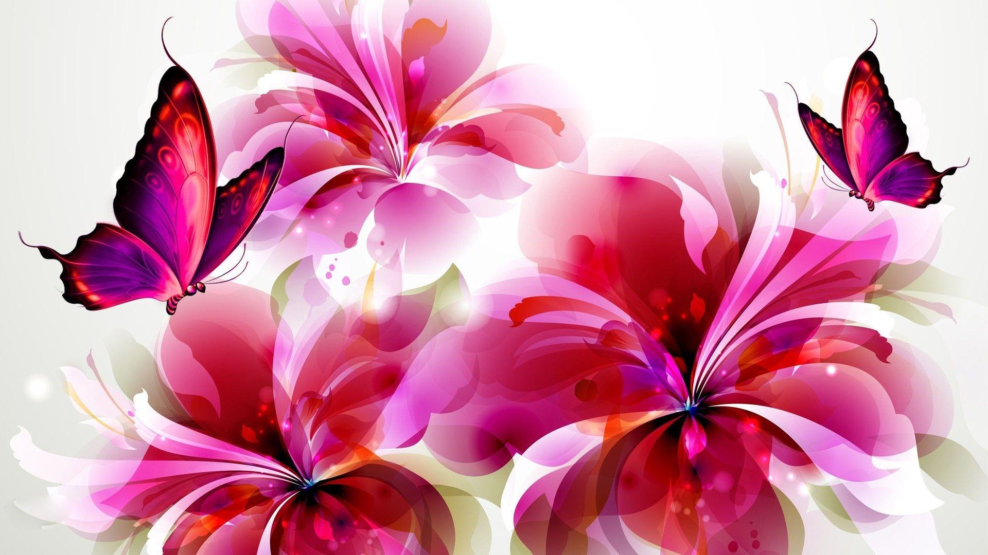 flowers and butterflies wallpaper #8715