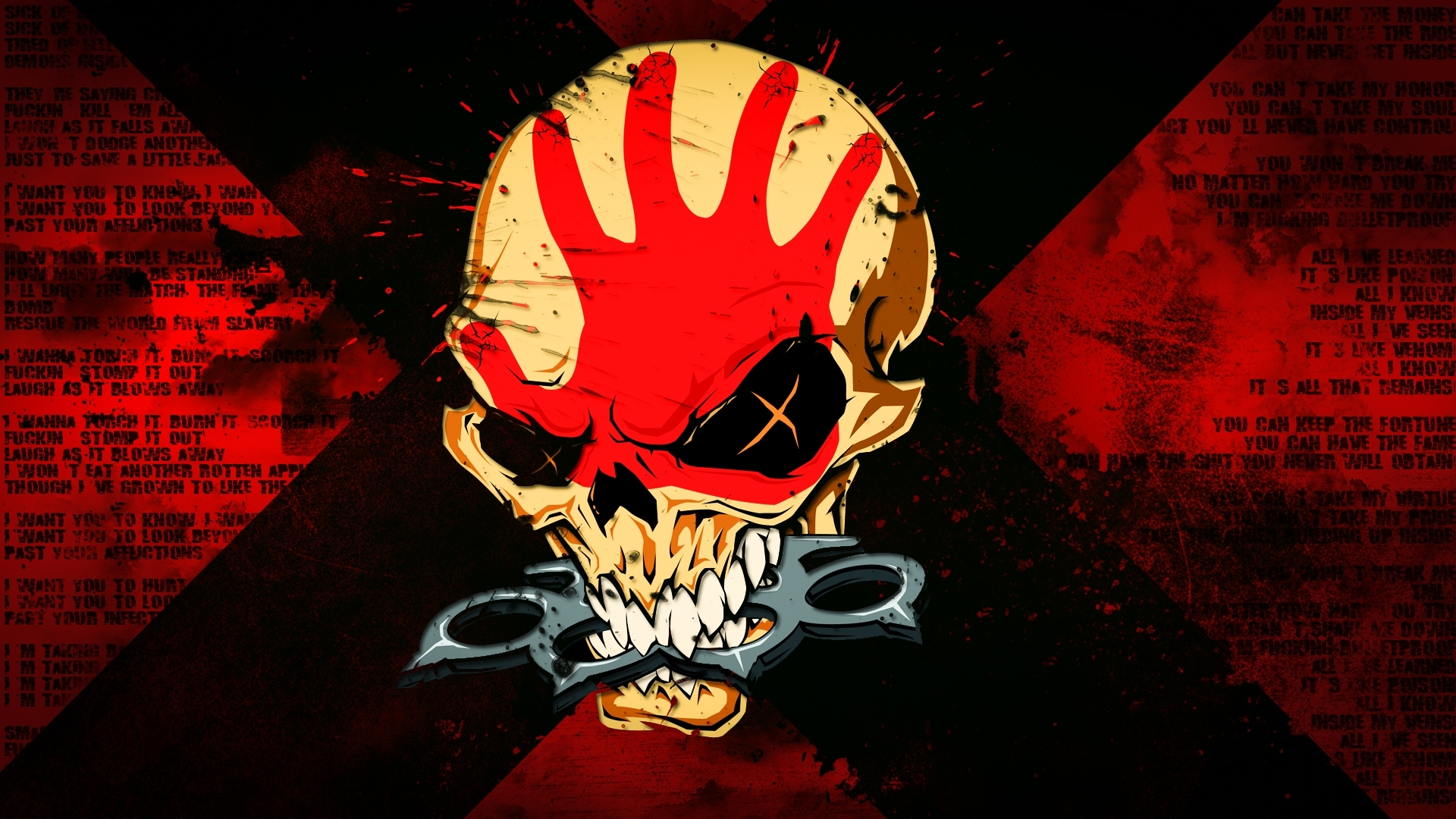 fonds d'ecran 1920x1080 crâne logotype emblème groove metal five
