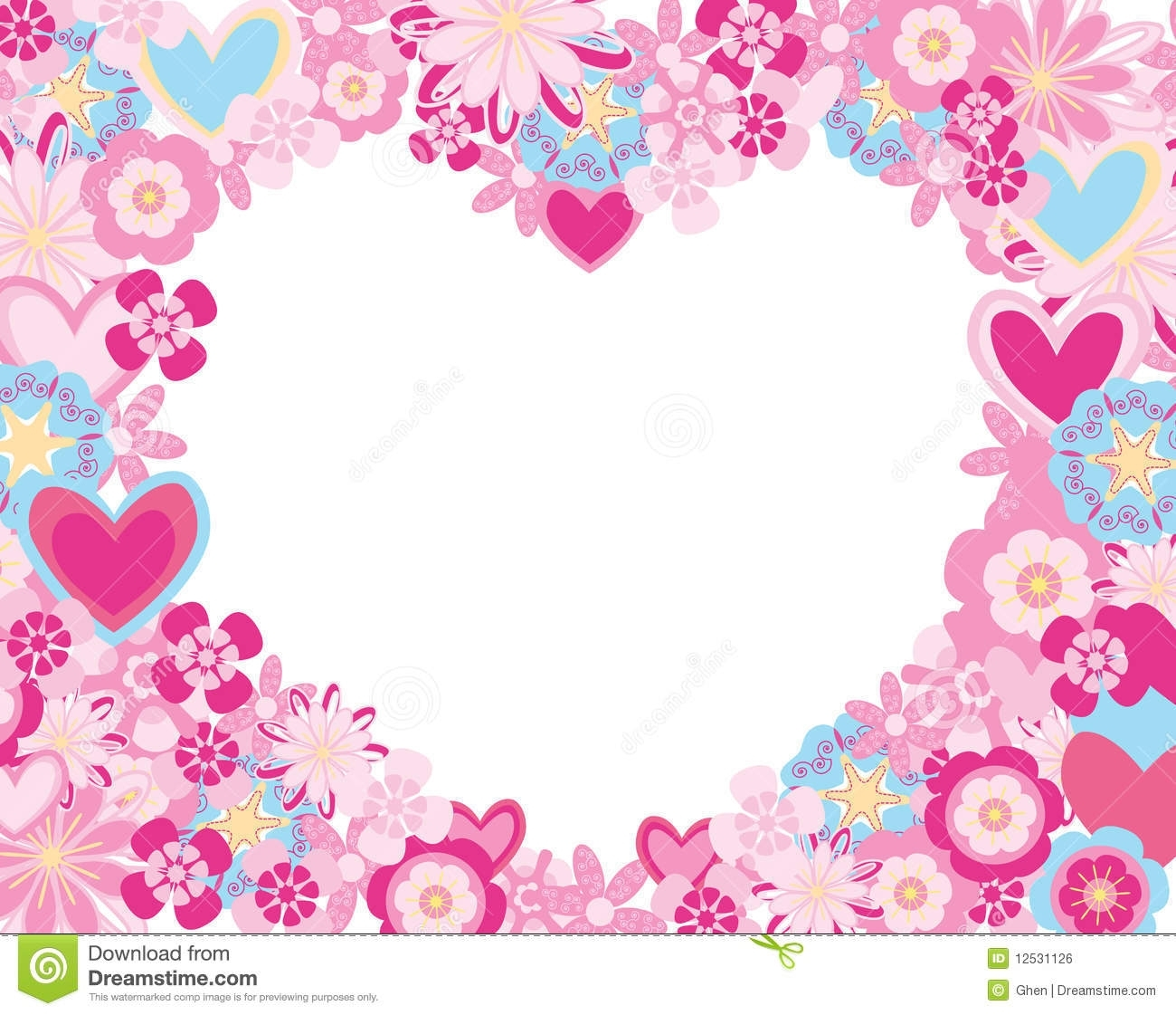 frame made of flowers and hearts stock vector - illustration of