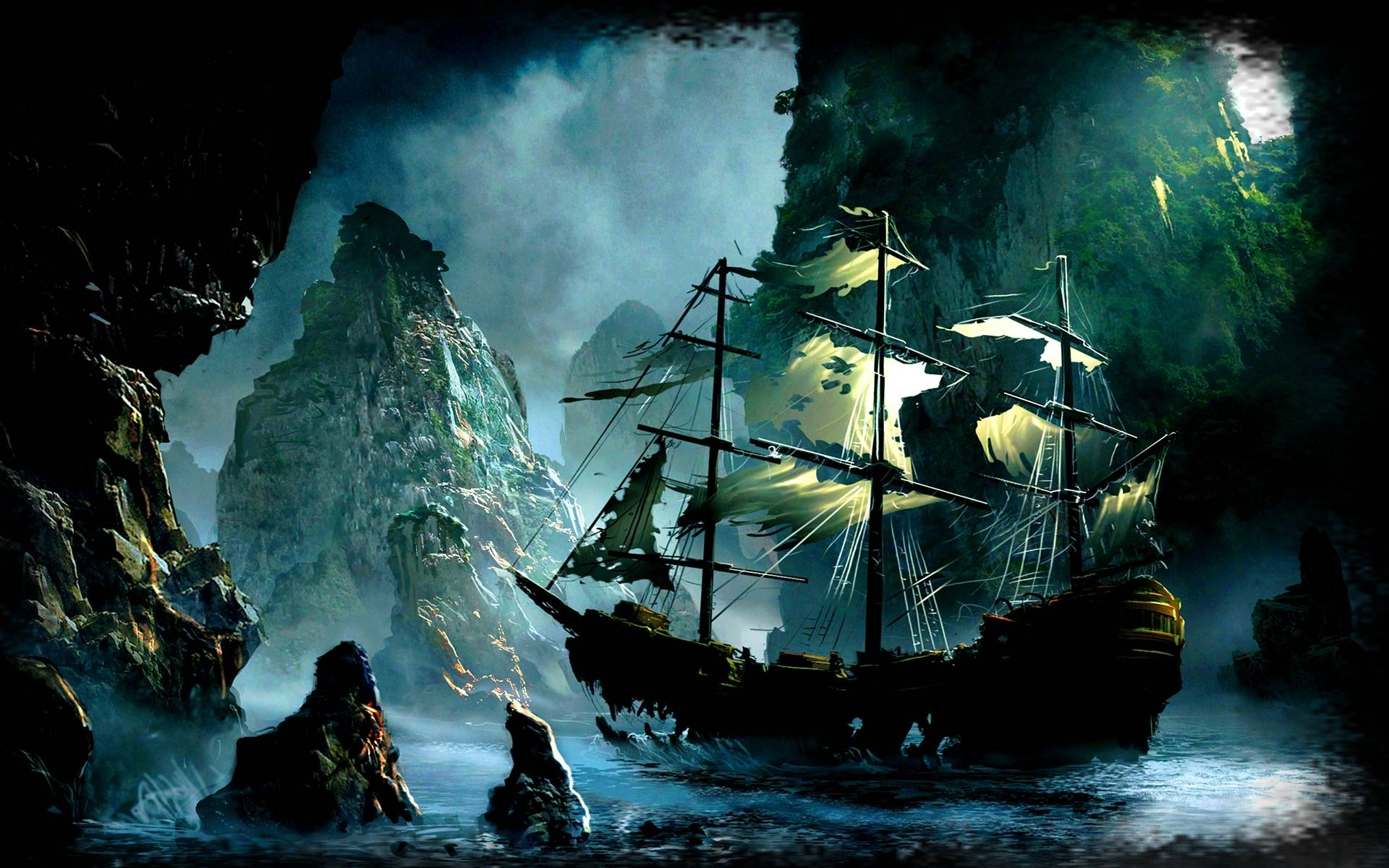 free ghost pirate ship backgrounds « long wallpapers