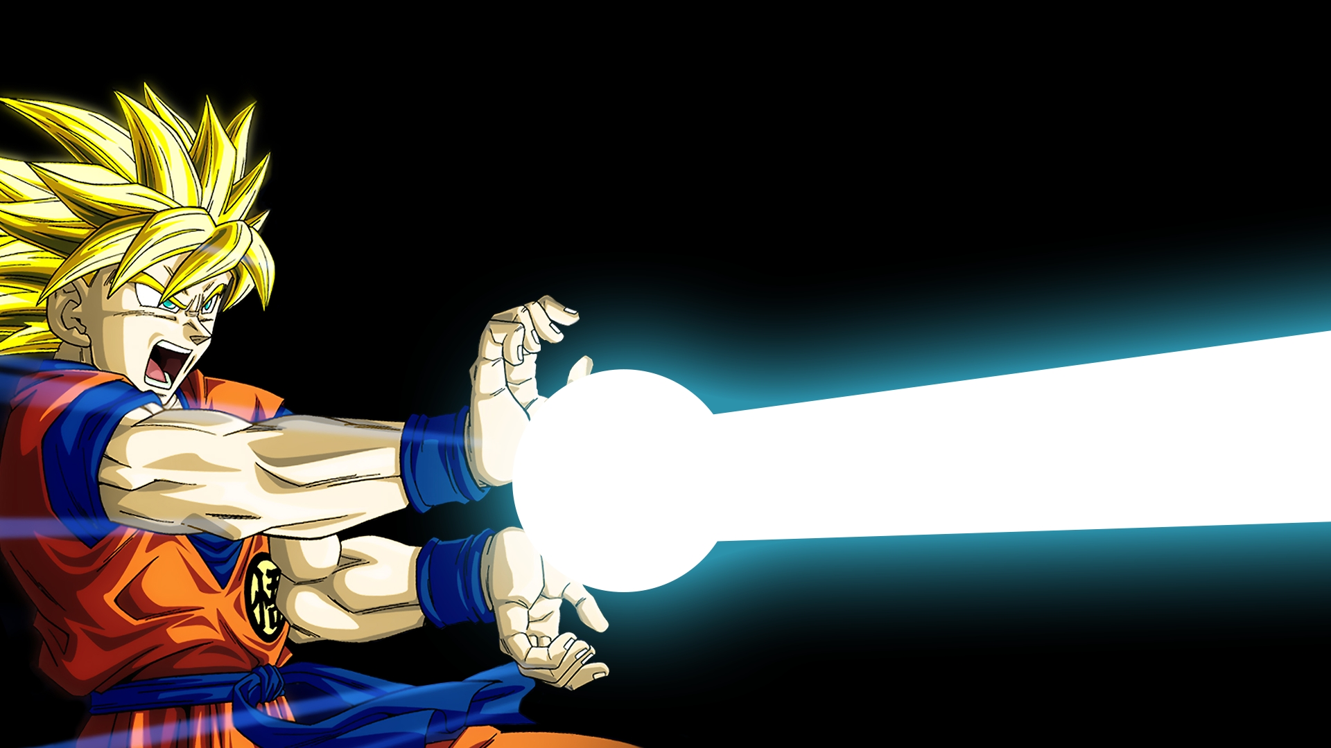 goku's kamehameha wave full hd wallpaper and background image