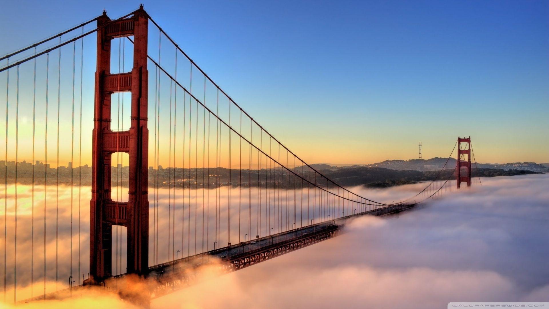 golden gate bridge envelopedfog hd desktop wallpaper high