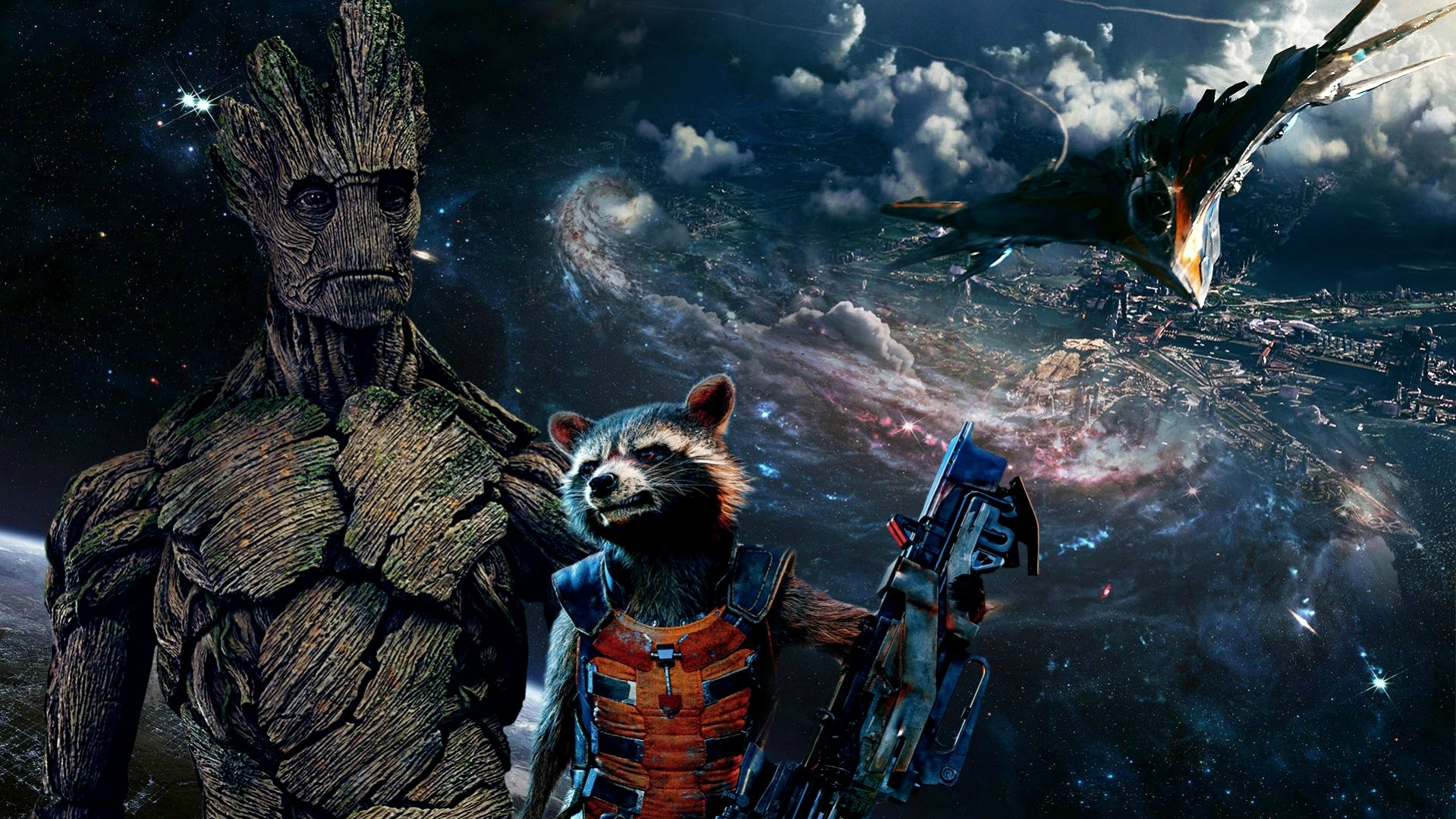 groot and rocket wallpaper [1920x1080] : marvel