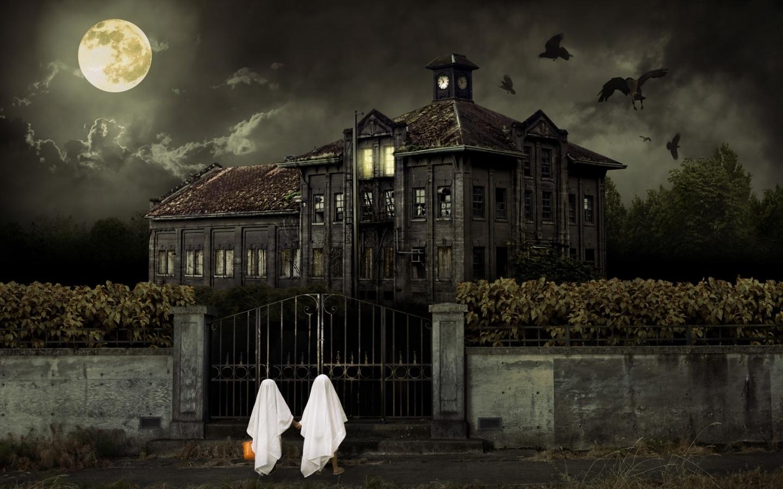 title halloween haunted house wallpaper halloween haunted house hd dimension 1440 x 900 file type jpgjpeg