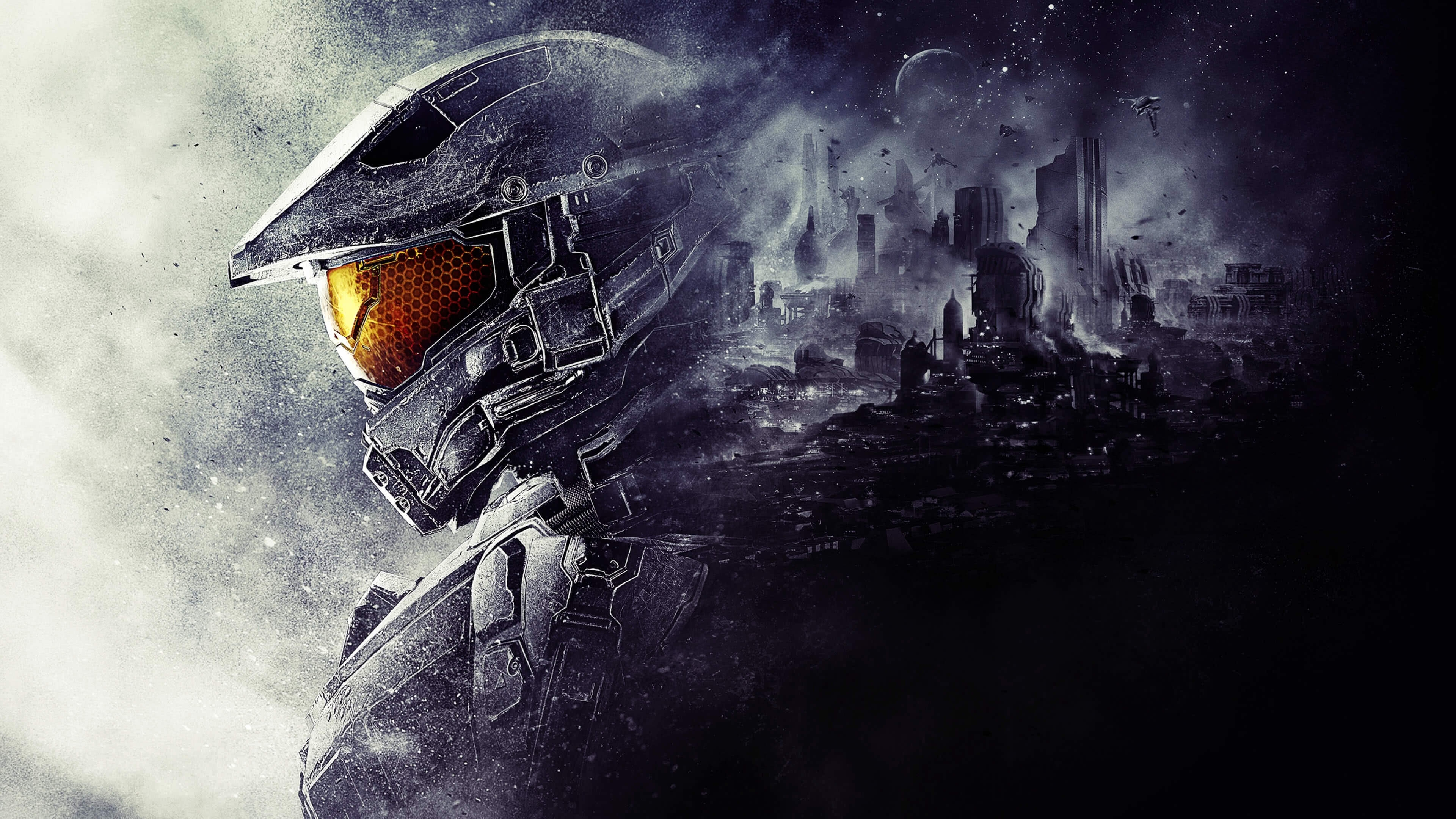 halo 5 guardians master chief helmet uhd 4k wallpaper | pixelz