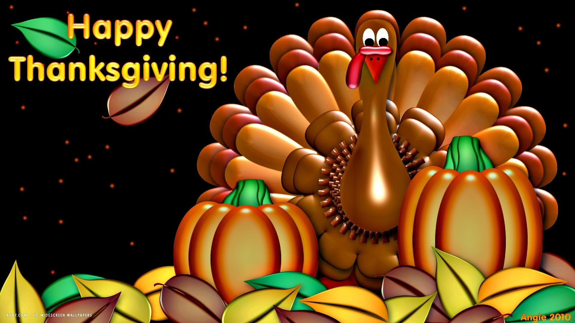happy thanksgiving turkey pumpkin artistic holiday hd widescreen