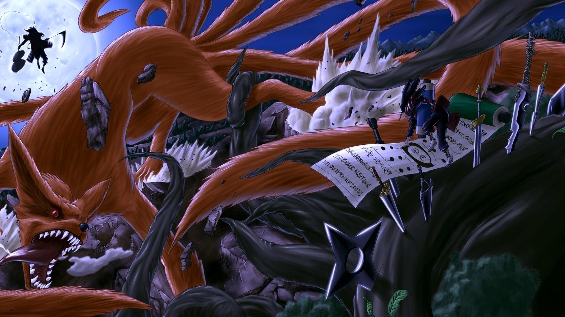 hashirama senju shuriken uchiha madara bijuu foxes wallpaper | (74339)