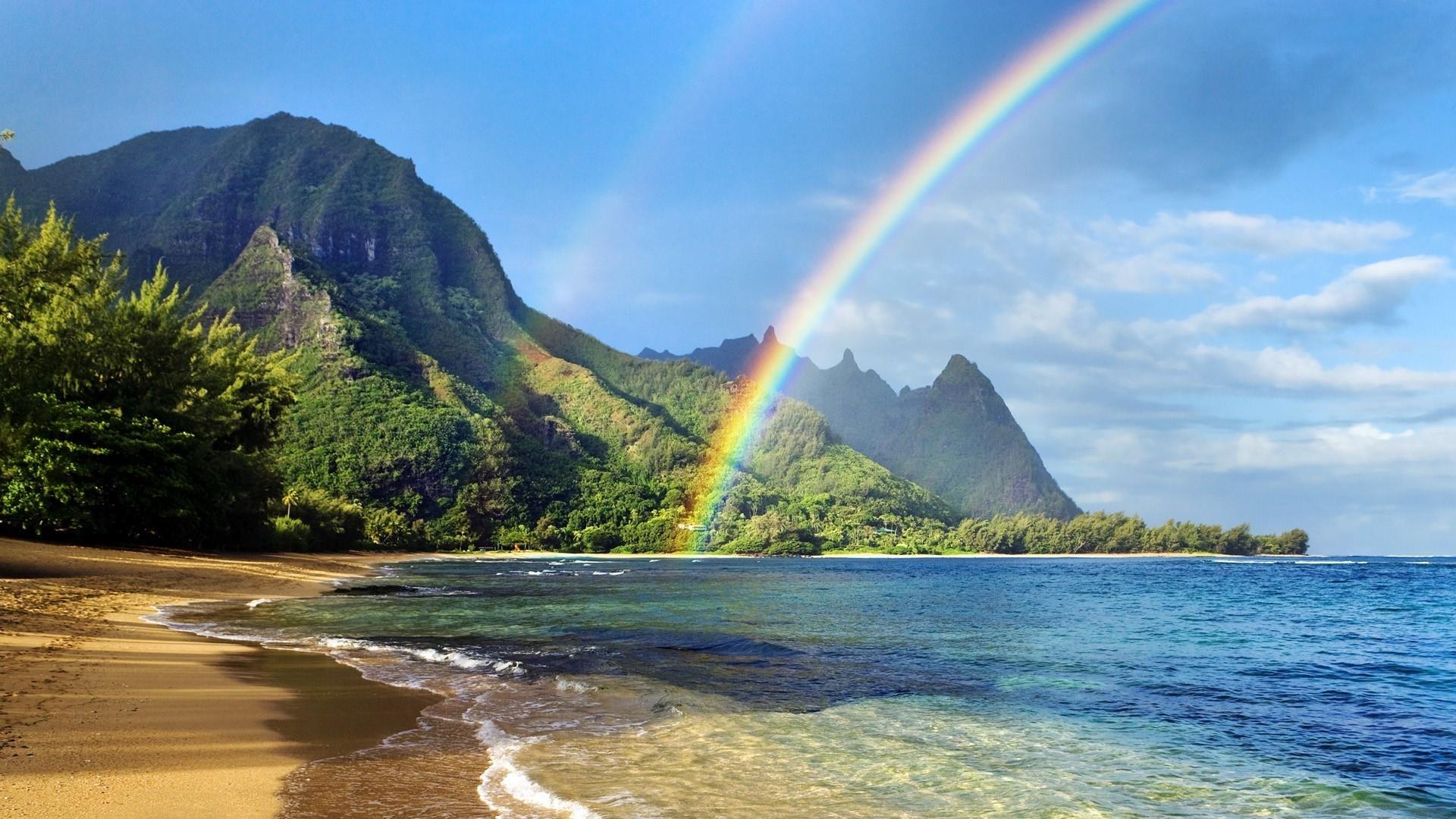 hawaiian beach with rainbow wallpaper | wallpaper studio 10 | tens