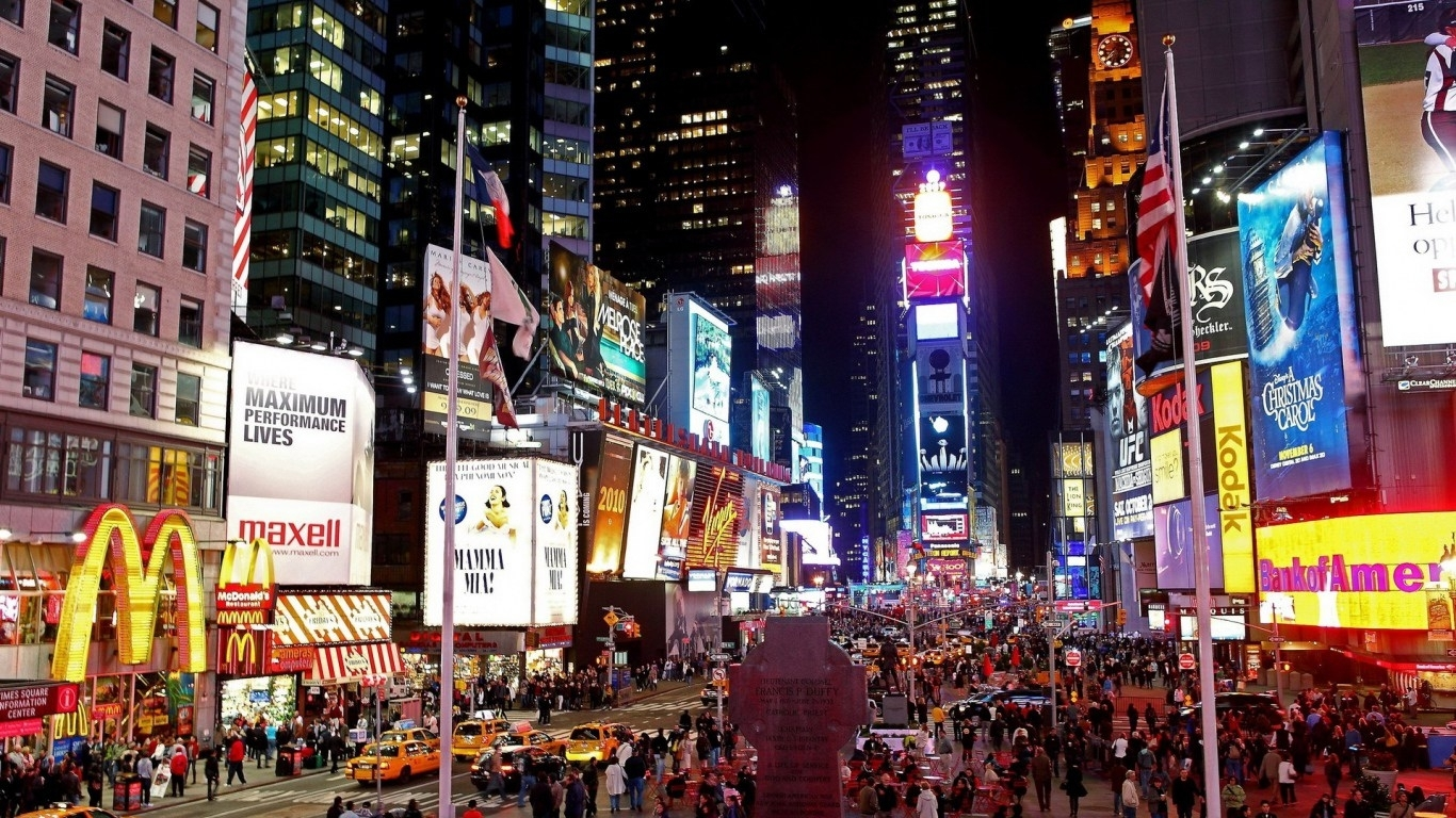 hd background new york city manhattan times square street night