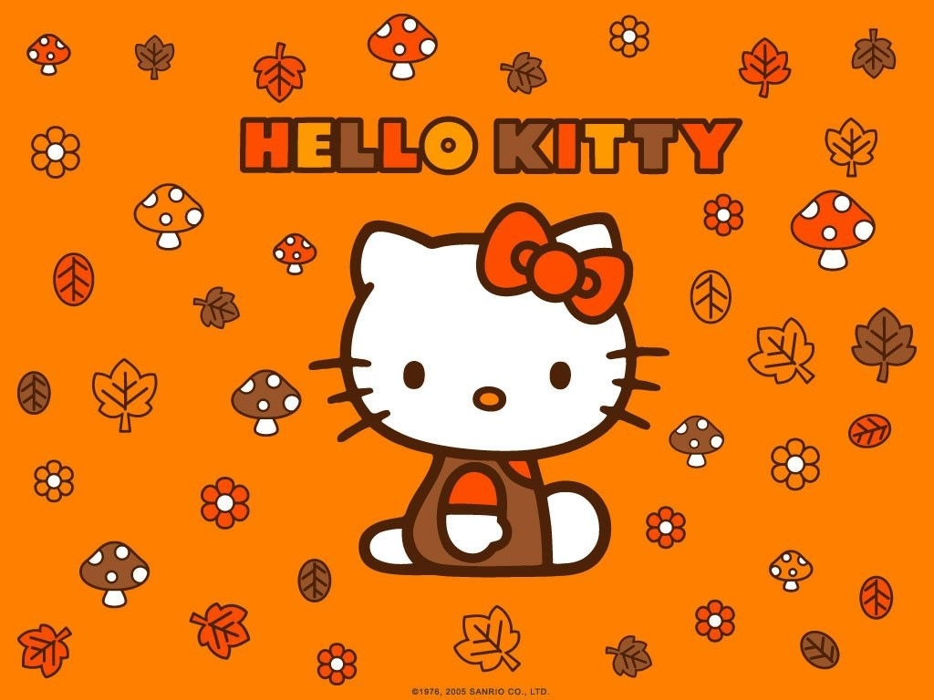 hello kitty autumn leaves wallpaper - cute wallpapers | comic and