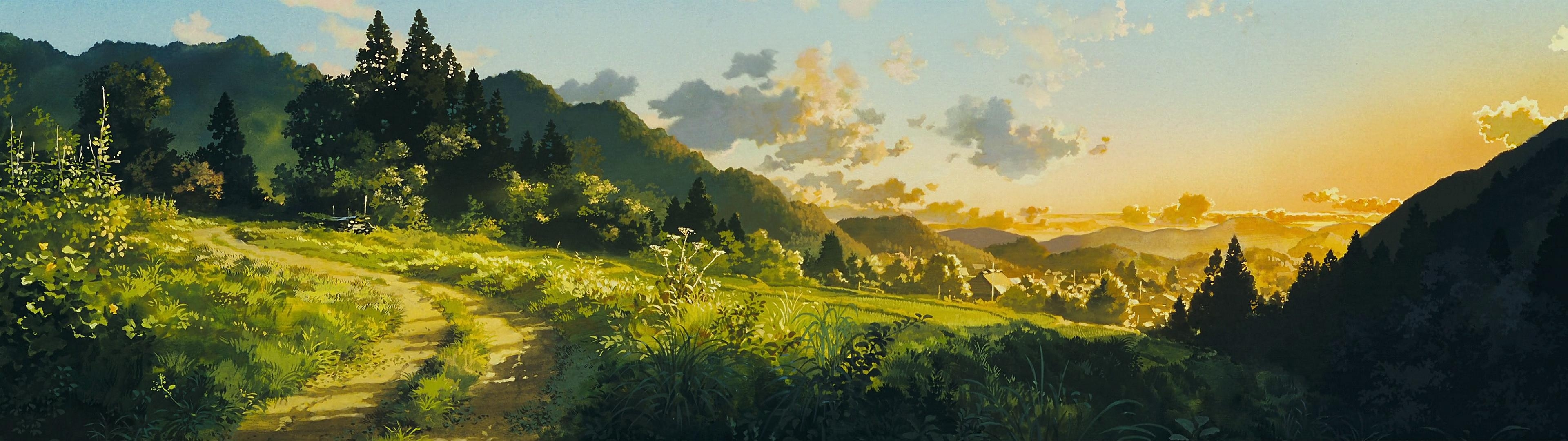 high res 'dual screen' studio ghibli desktop wallpapers!