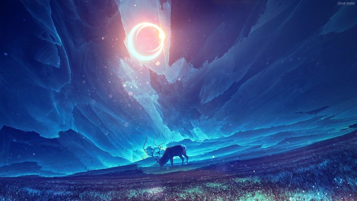 horn anime sky blue moon animal wallpaper | 1920x1080 | 602873