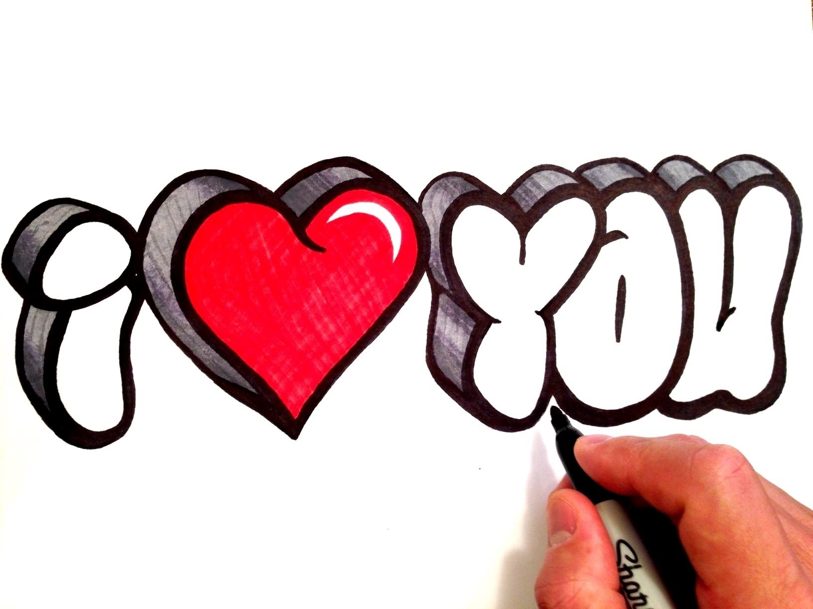 how to draw i love you in 3d bubble letters - youtube