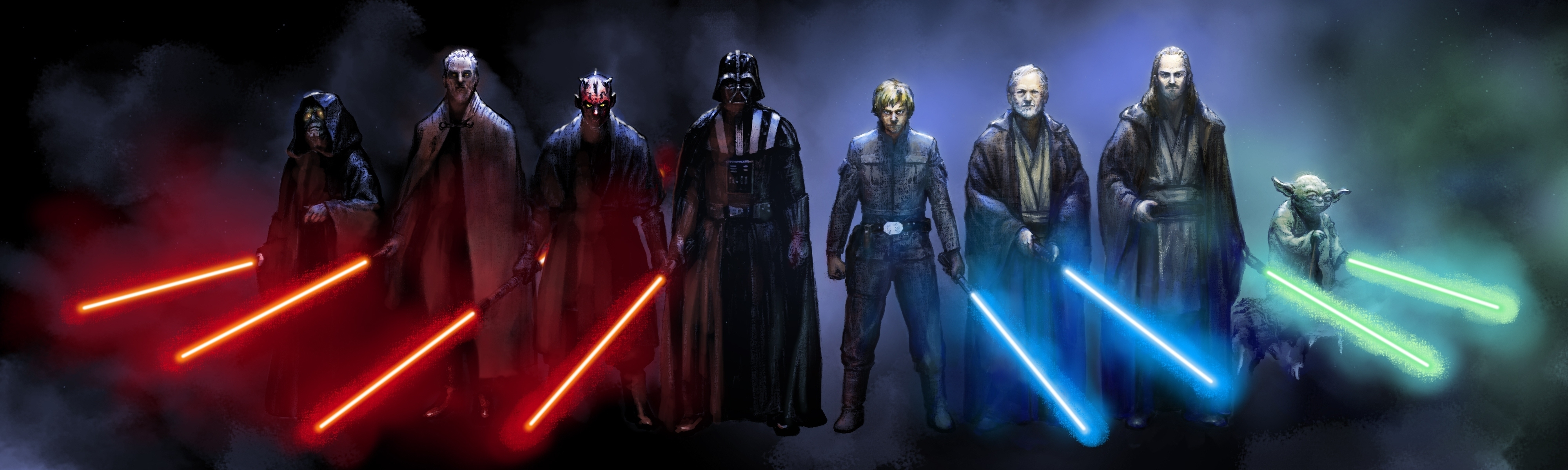 jedi vs sith wallpaper | 4000x1200 | id:22786 - wallpapervortex