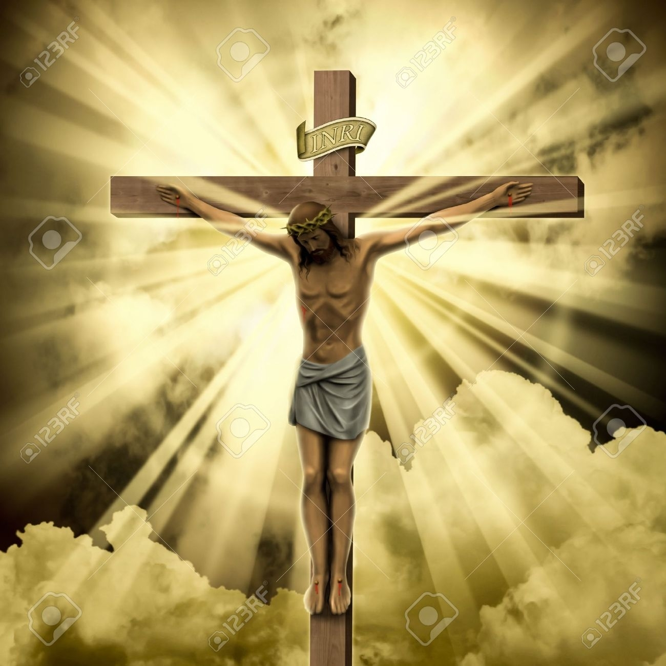 jesus christ on the cross with clouds stock photo, picture and