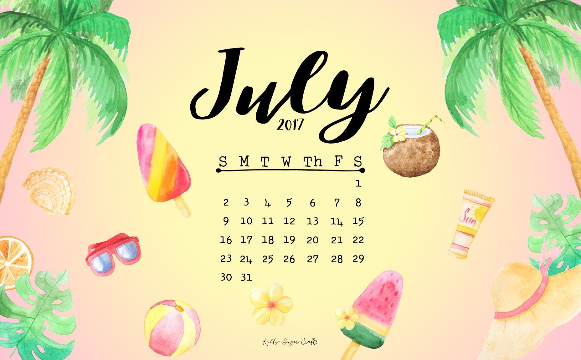july 2017 calendar + wallpapers - kelly sugar crafts