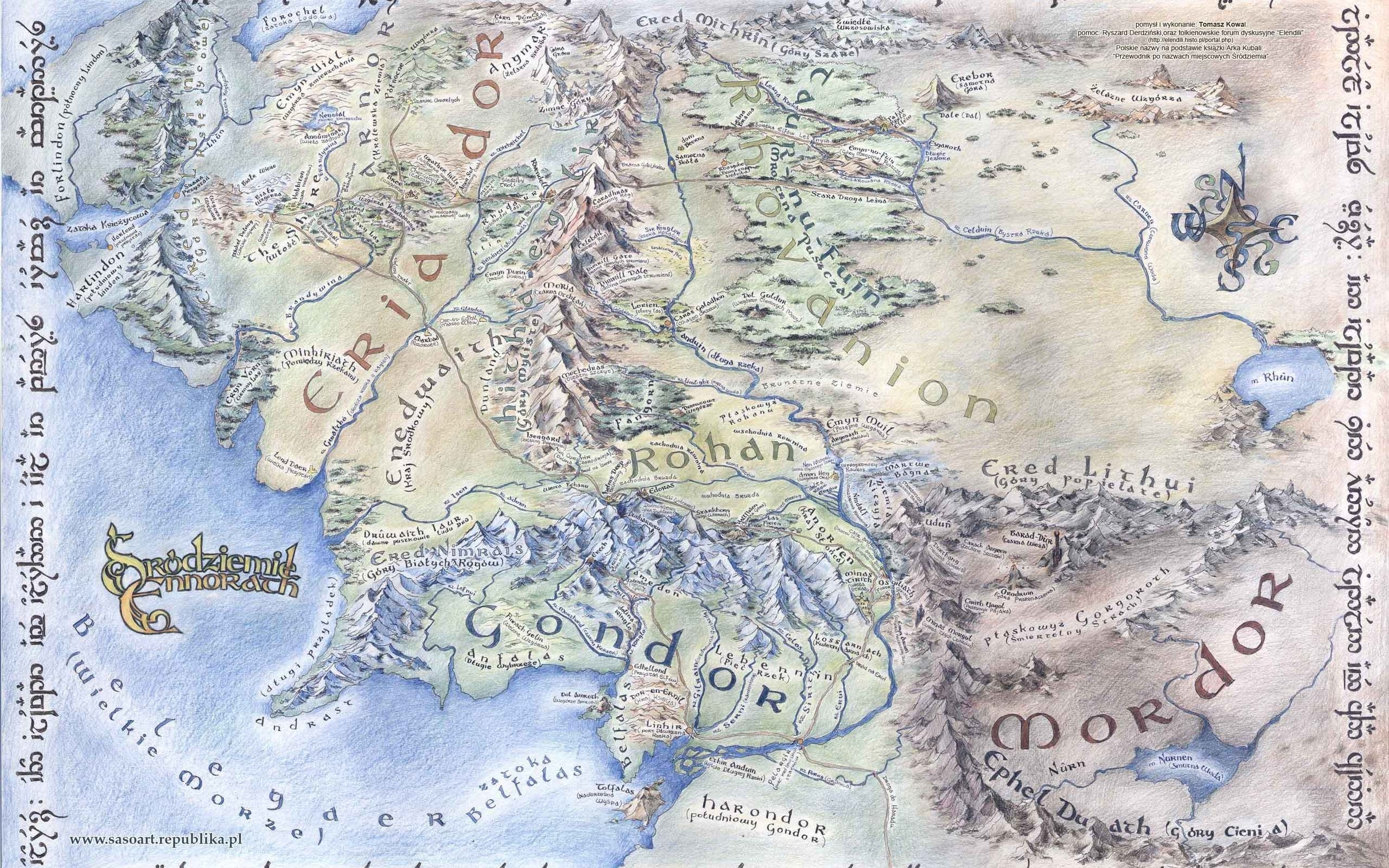 large detailed map of middle-earth desktop wallpapers 1920x1080 | m