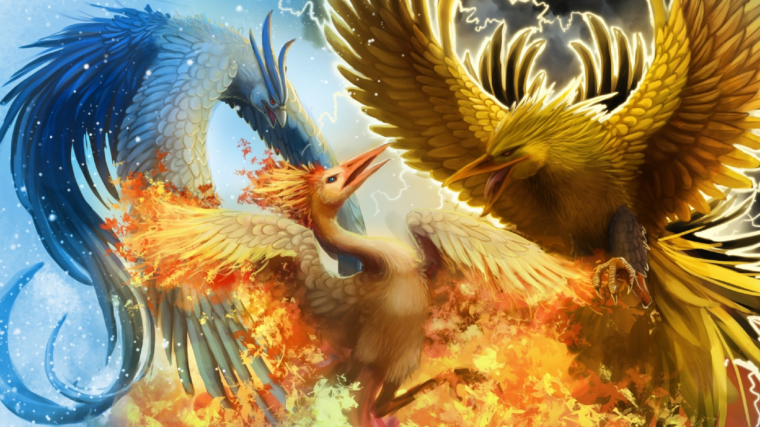 legendary birds articuno, zapdos, and moltres full hd wallpaper and