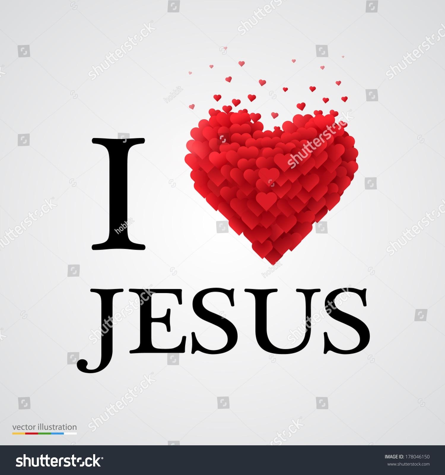 love jesus font type heart sign image vectorielle 178046150