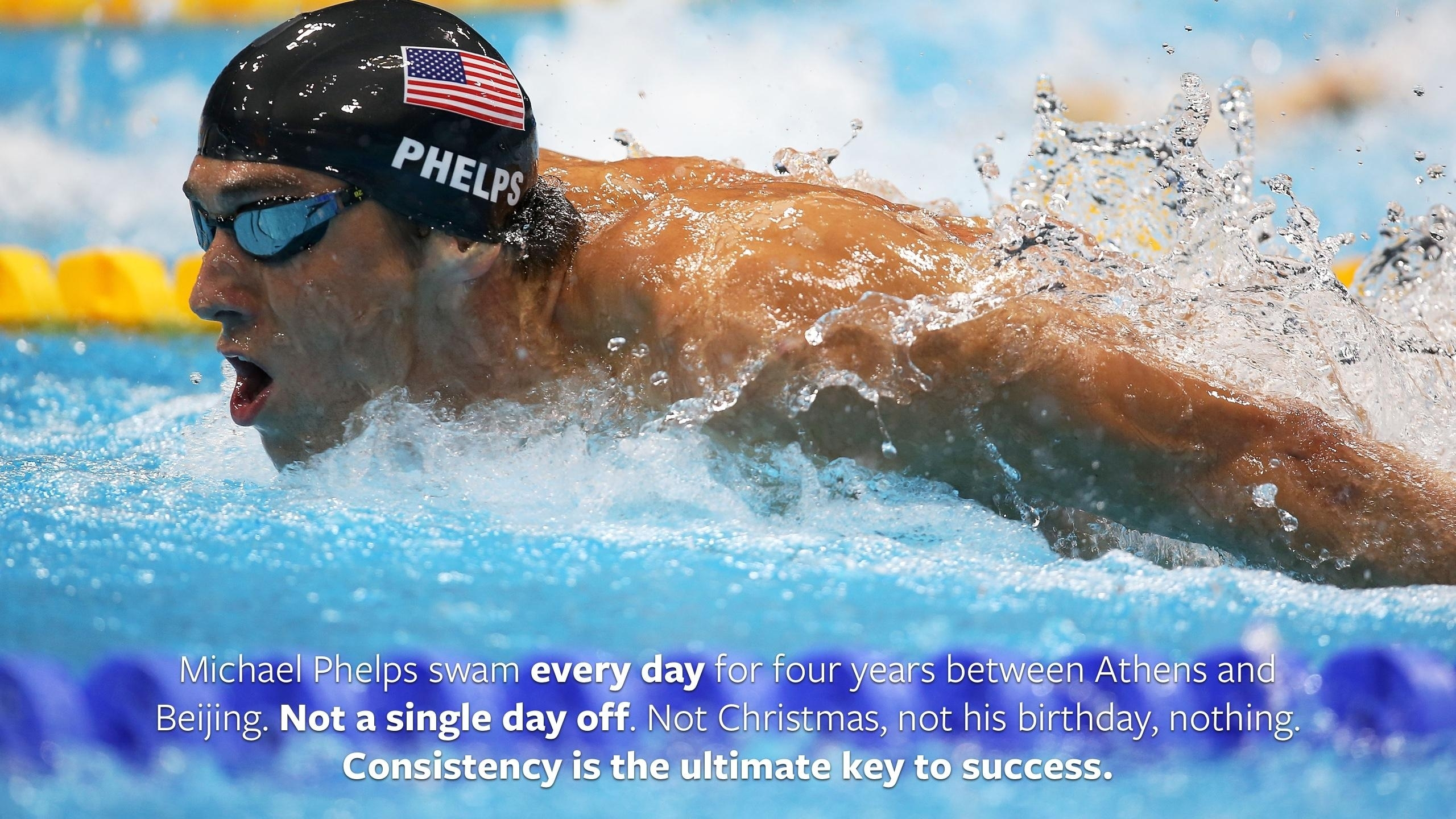 loved that quote about michael phelps swimming every day, made a