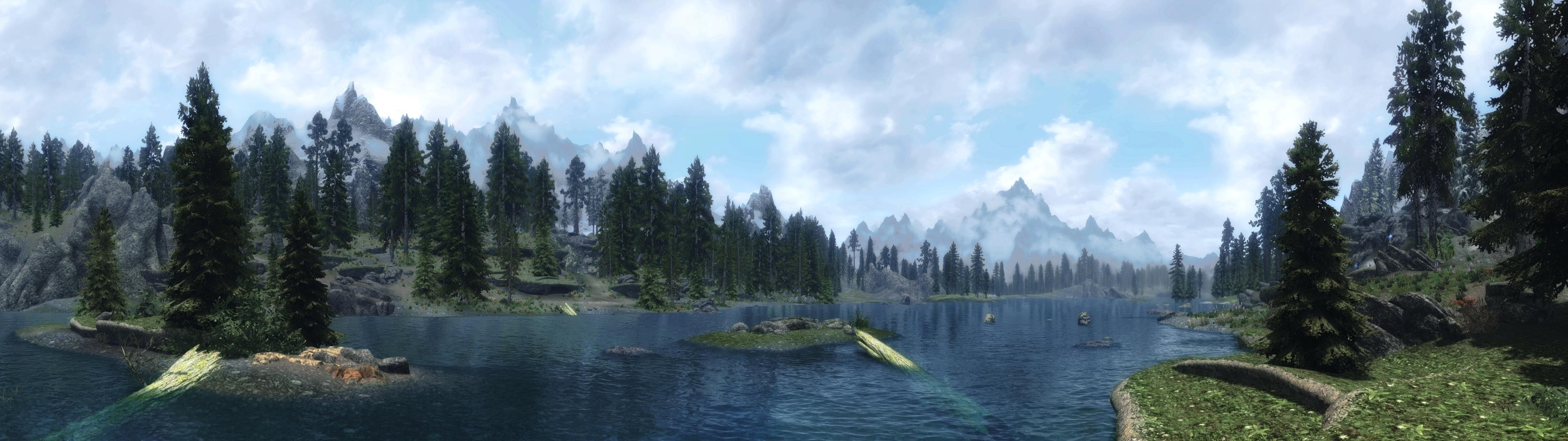 made a wallpaper for people with dual-monitors (3840x1080) : skyrim
