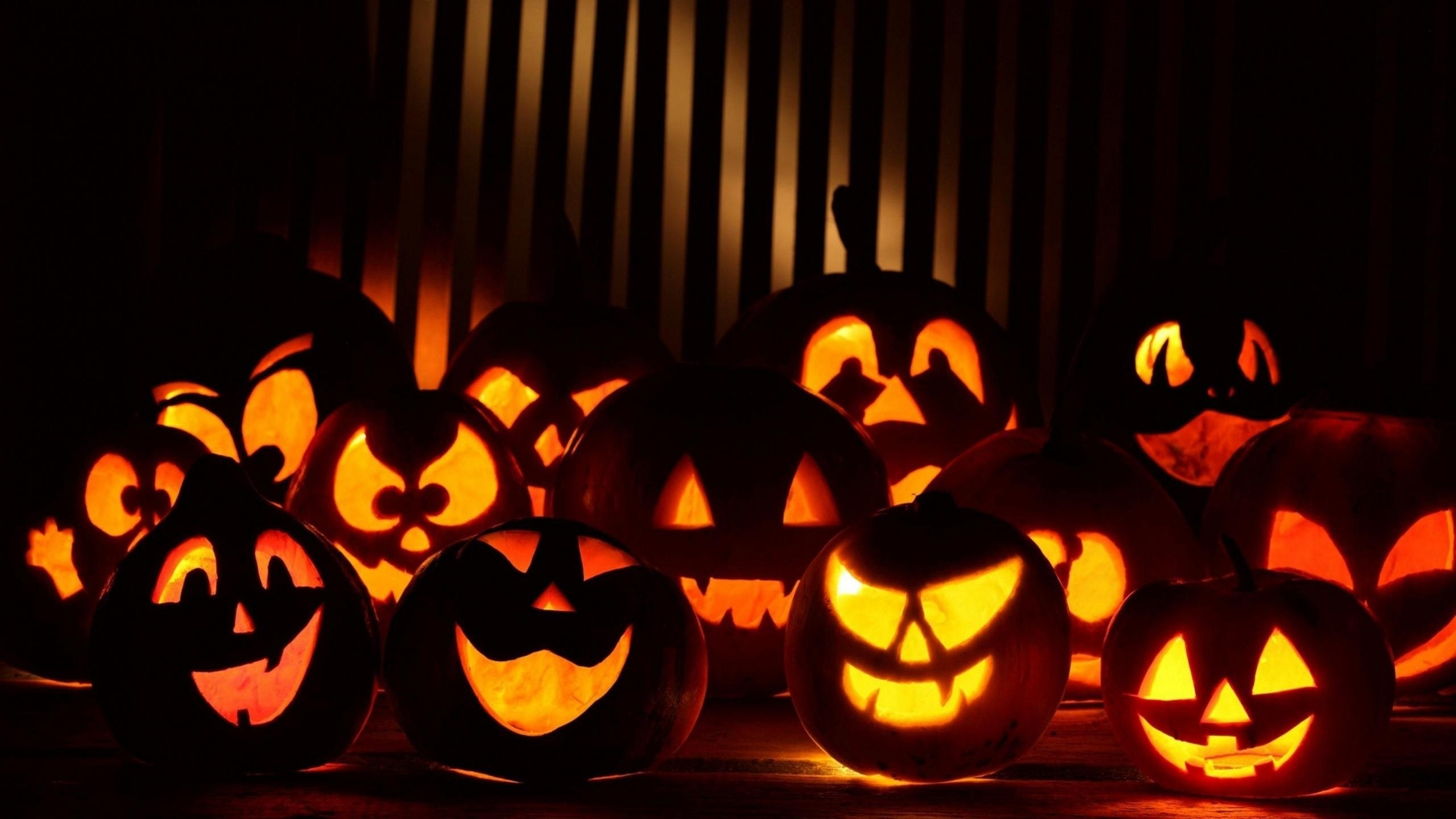 many halloween pumpkins hd desktop wallpaper : widescreen : high