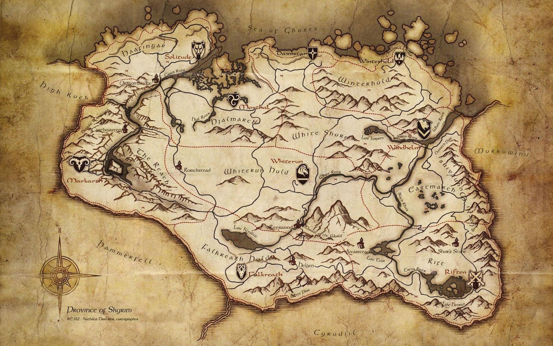 maps the elder scrolls v skyrim skyrim map wallpaper | 1920x1200