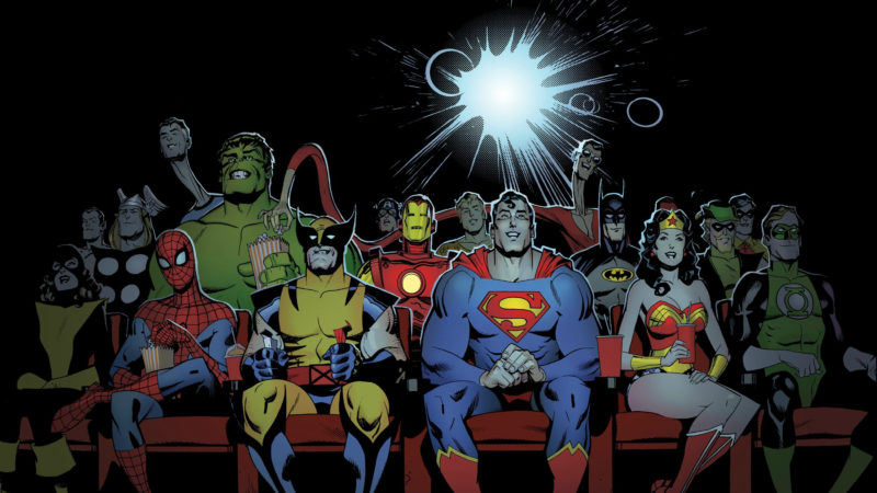 10 Most Popular Marvel Dc Wallpaper FULL HD 1920×1080 For PC Desktop 2021 free download marvel and dc characters watching a movie hd wallpaper background 800x450