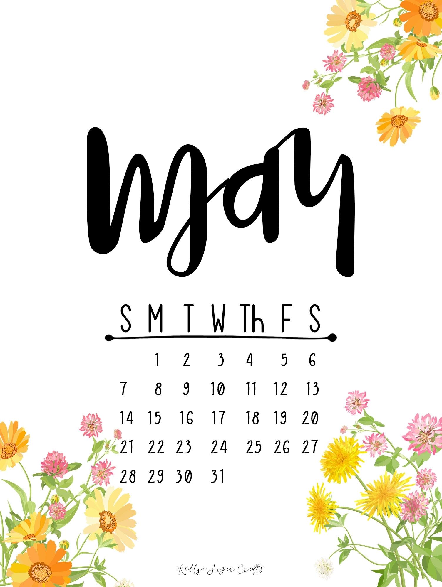may 2017 printable calendar + wallpapers - kelly sugar crafts