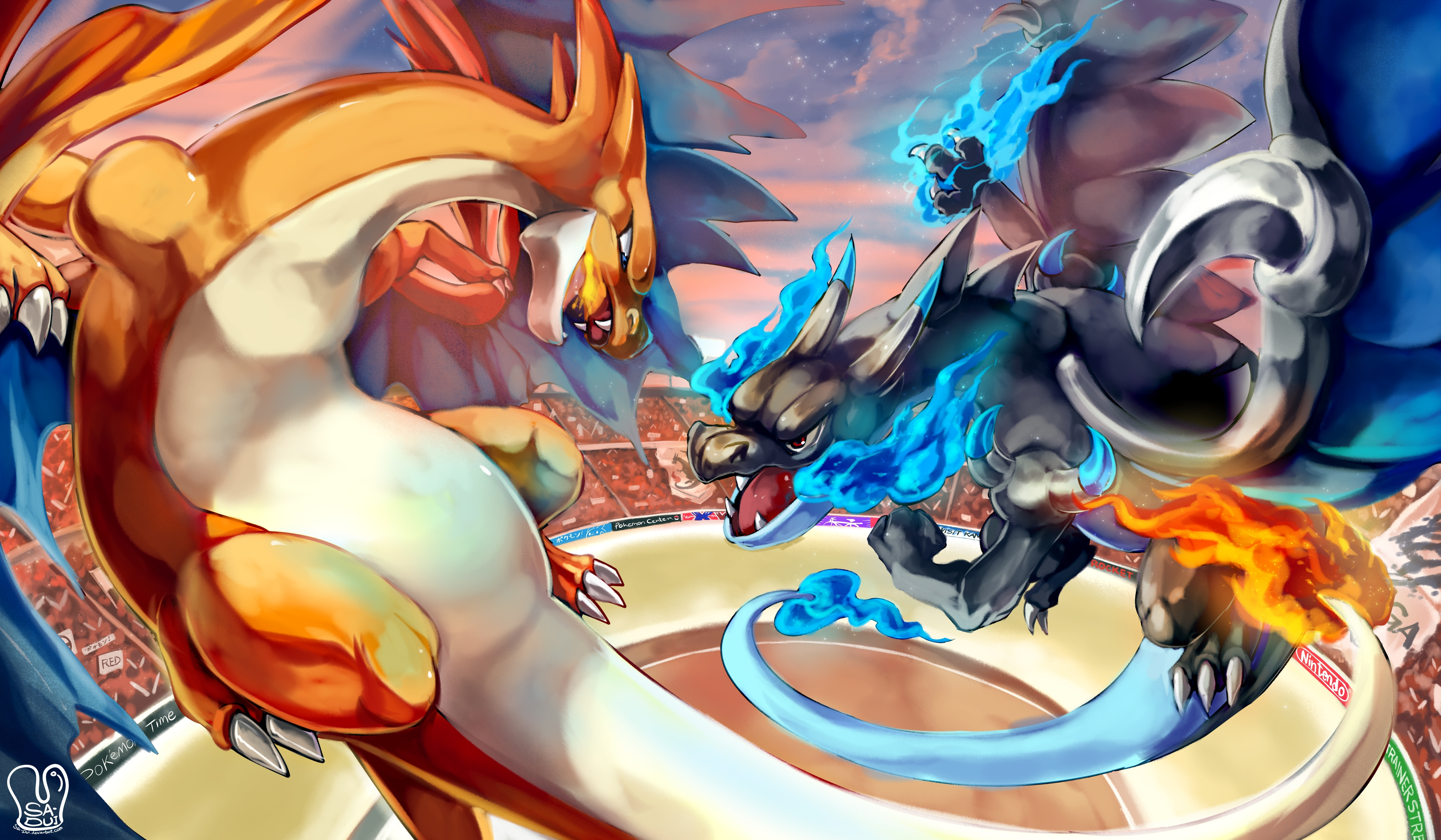 mega charizard y vs mega charizard x 5k retina ultra hd wallpaper