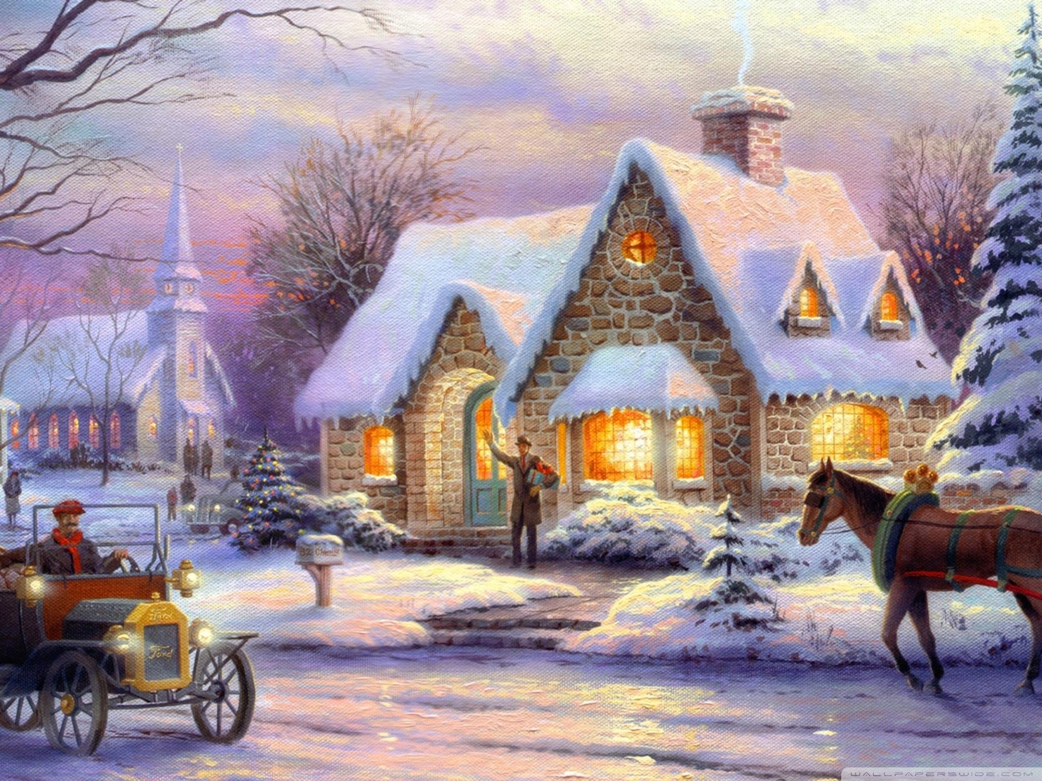 memories of christmasthomas kinkade ❤ 4k hd desktop wallpaper