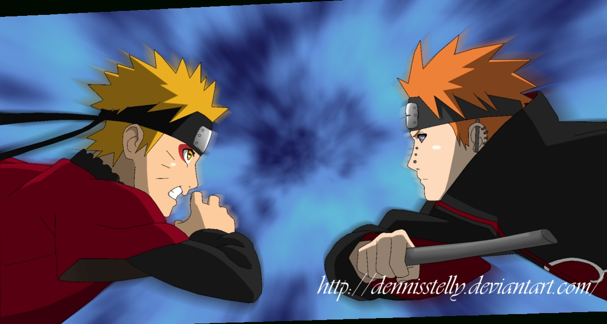 naruto vs pain - opening 07 - lineart coloreddennisstelly on