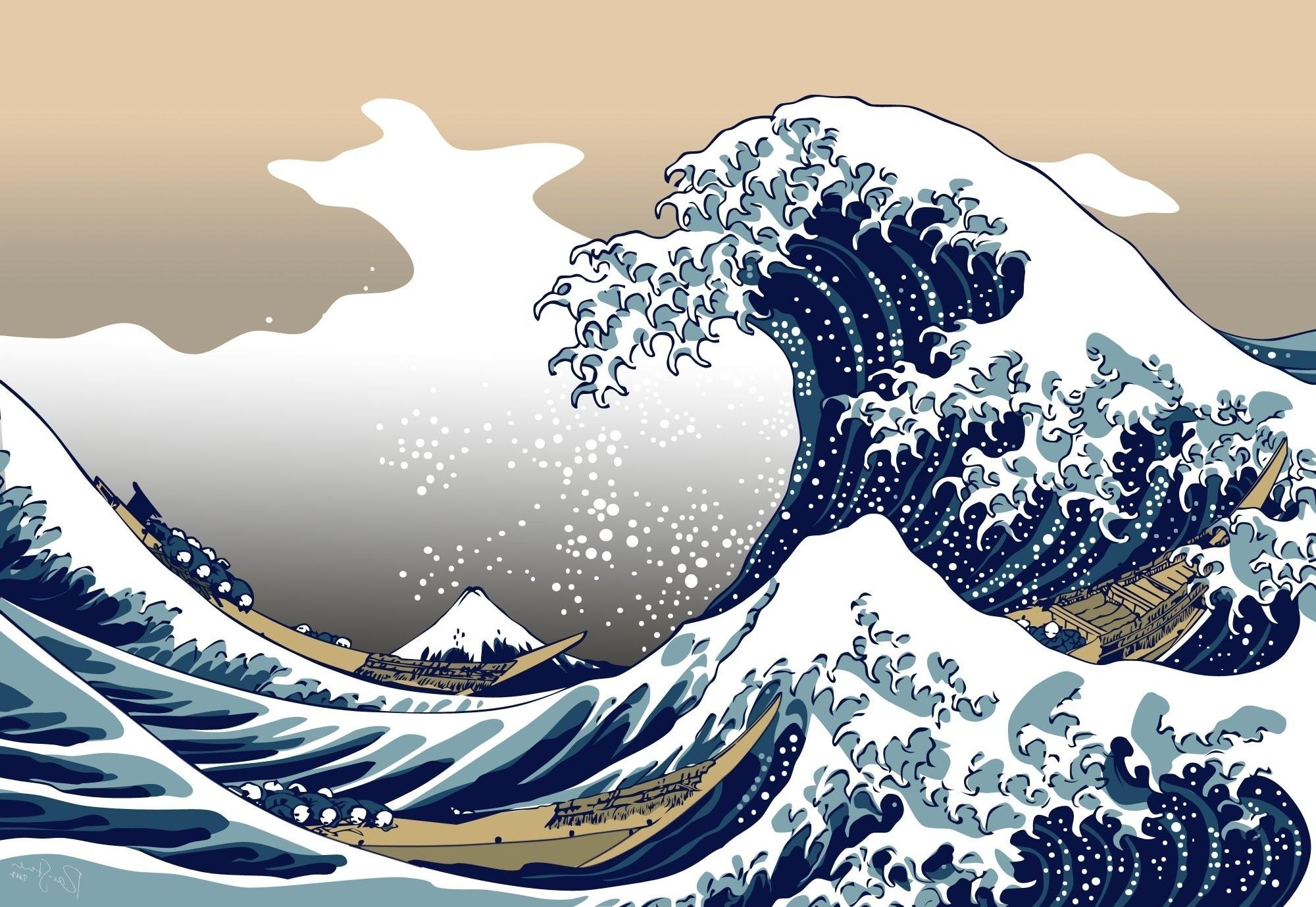 nature, blue, the great wave off kanagawa wallpapers hd / desktop