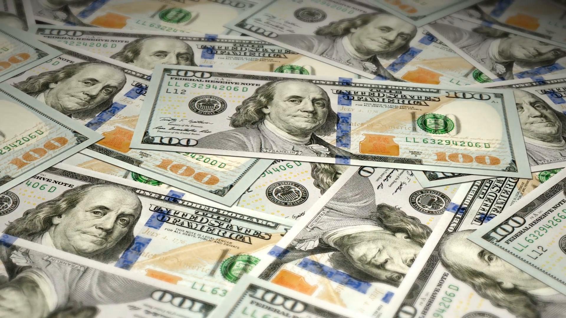 new 100 dollar bills swing animation motion background - videoblocks