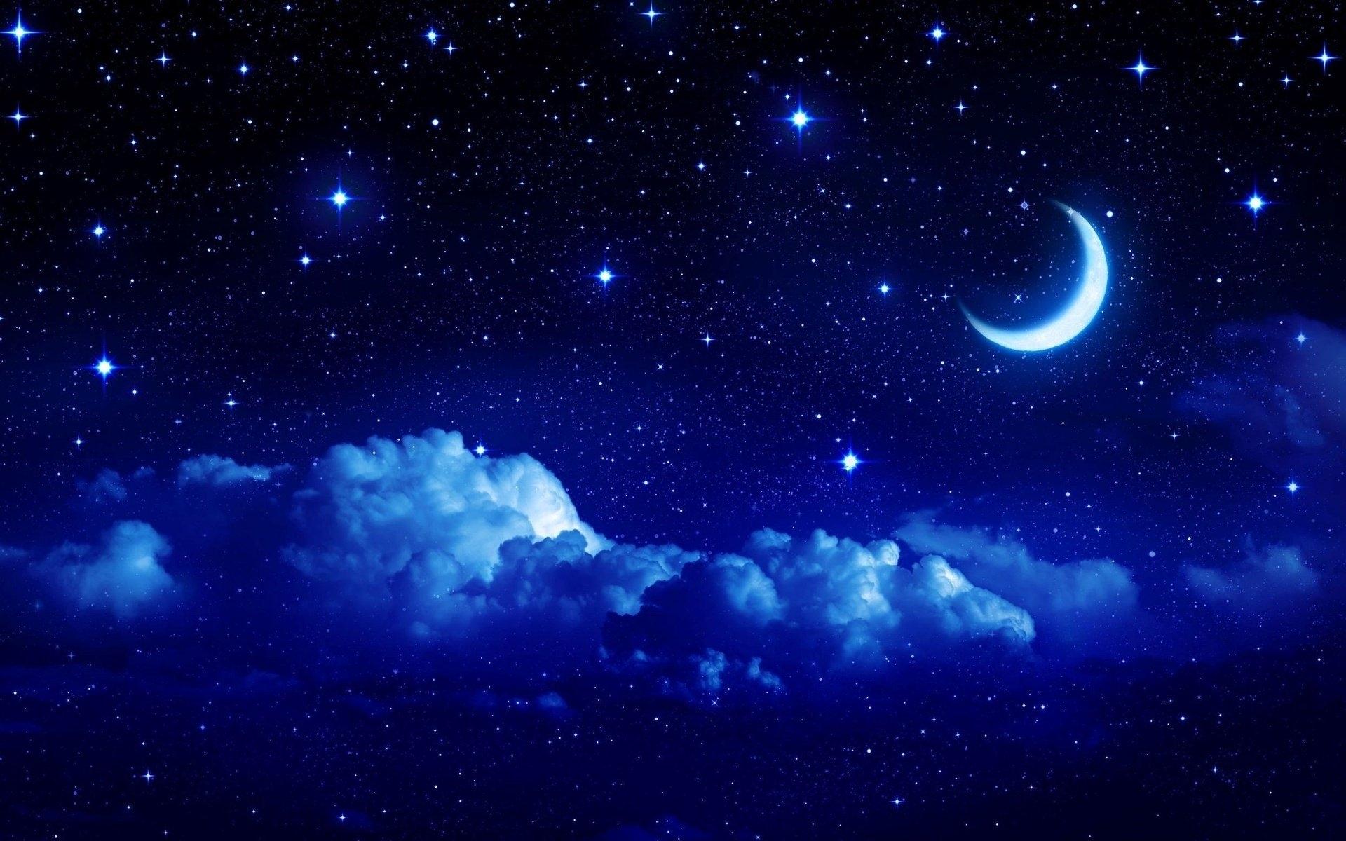 night moon romance love stars sky clouds wallpaper | 1920x1200