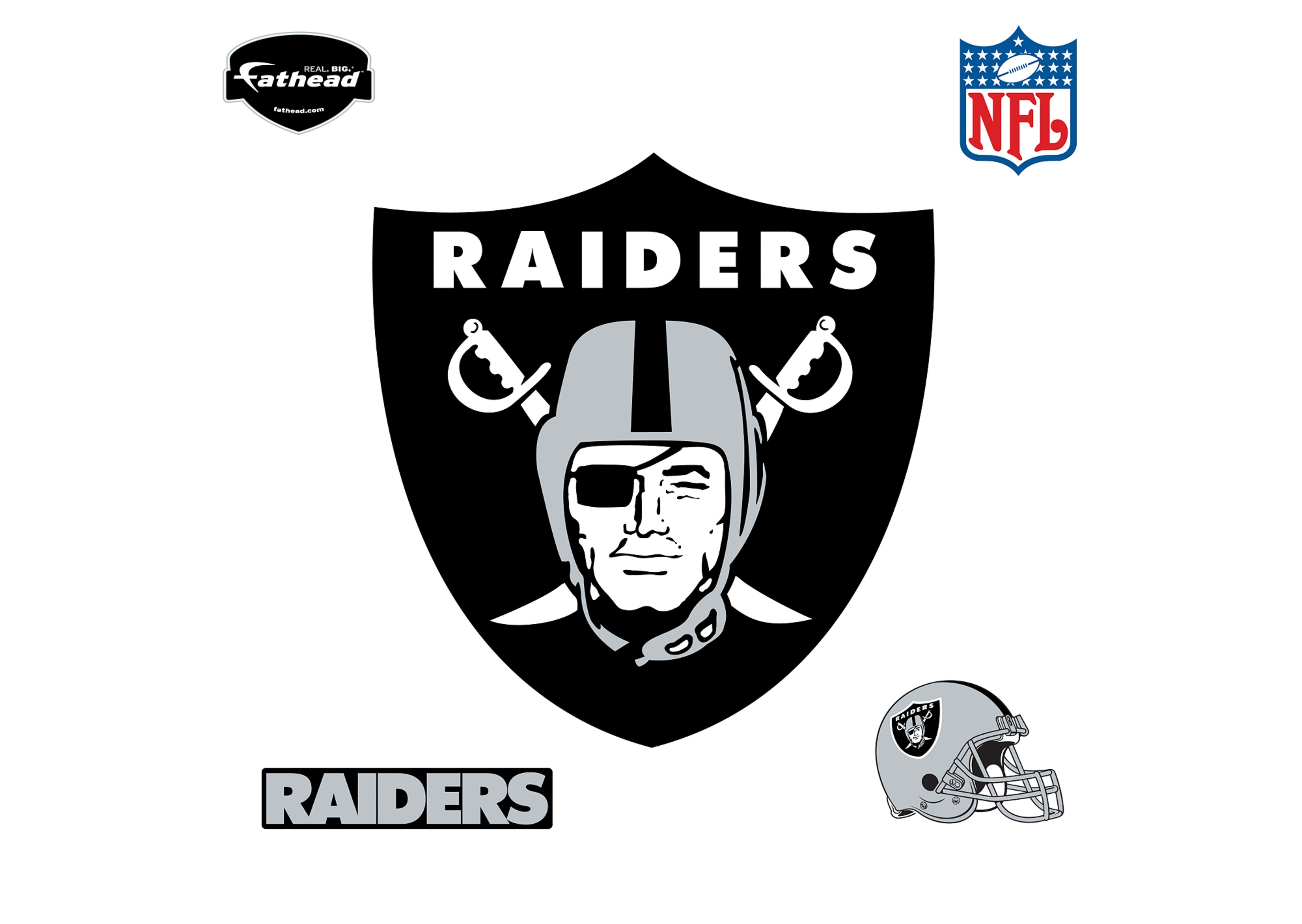 oakland raiders logo wall decal | shop fathead® for oakland raiders