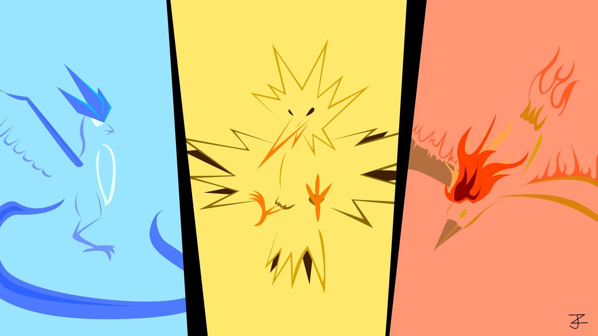 oc minimalist pokemon wallpaper! the legendary birds! - imgur