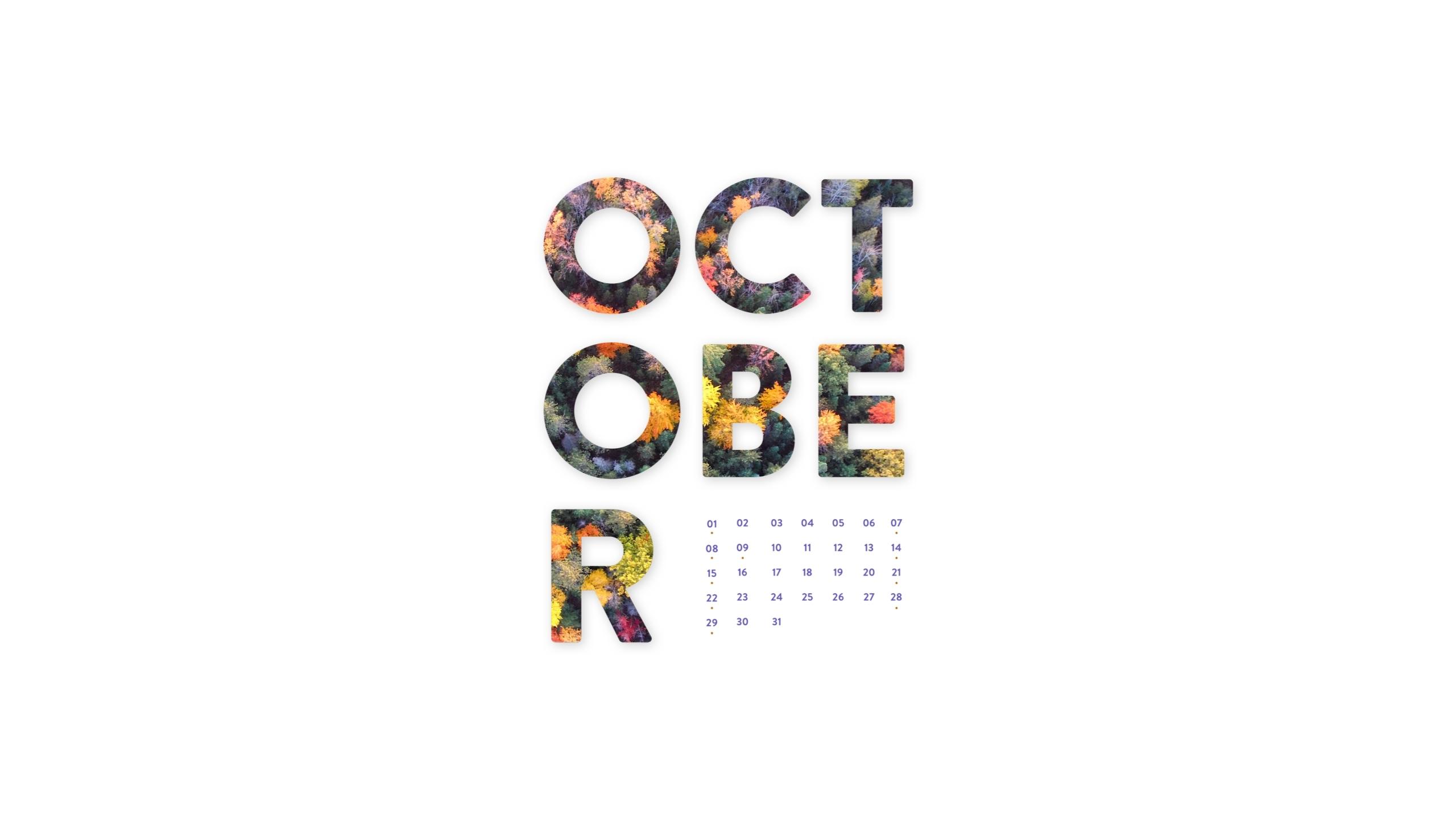 october 2017 desktop calendar wallpaper   paper leaf