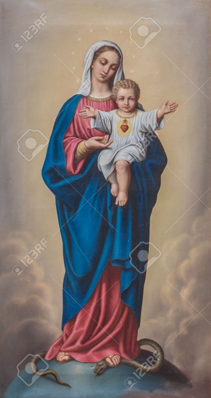 painting of the blessed virgin mary with baby jesus stock photo