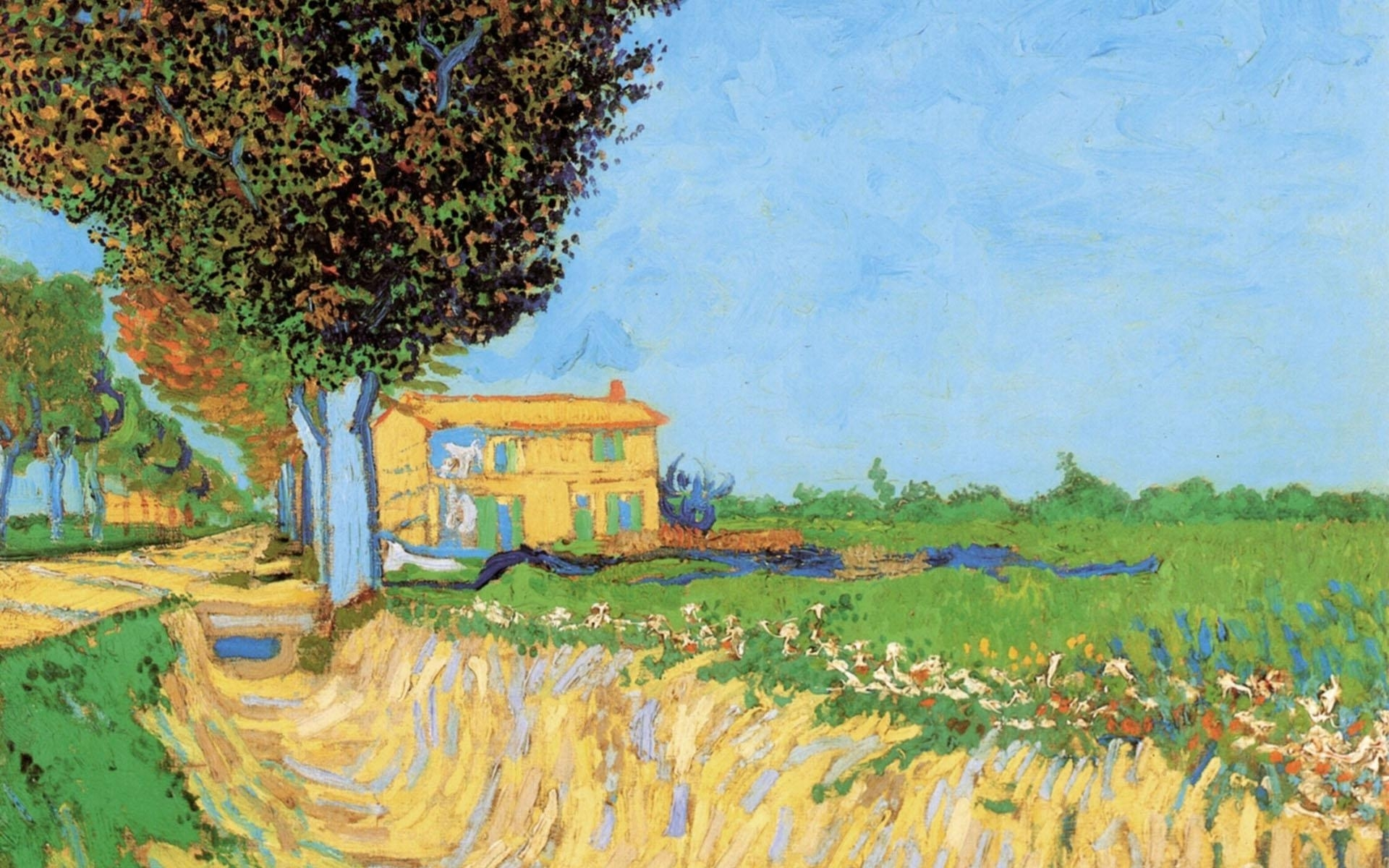 painting of vincent van gogh - a lane near arles wallpapers and