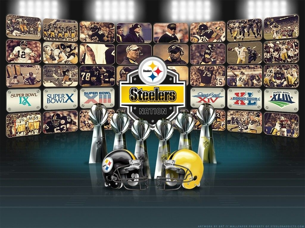 pittsburgh steelers, 6 time champs media collage | super bowl champs
