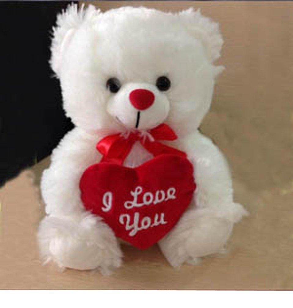plush fluffy white teddy bear i love you red heart love teddy bear
