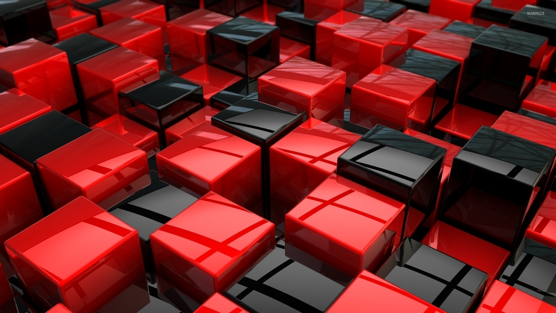 red and black cubes wallpaper - 3d wallpapers - #33140