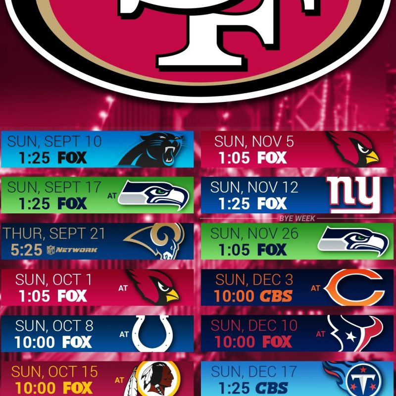 10 New 49Ers 2017 Schedule Wallpaper FULL HD 1920×1080 For PC Background 2018 free download san francisco 49ers screensaver wallpaper 66 images 1 800x800