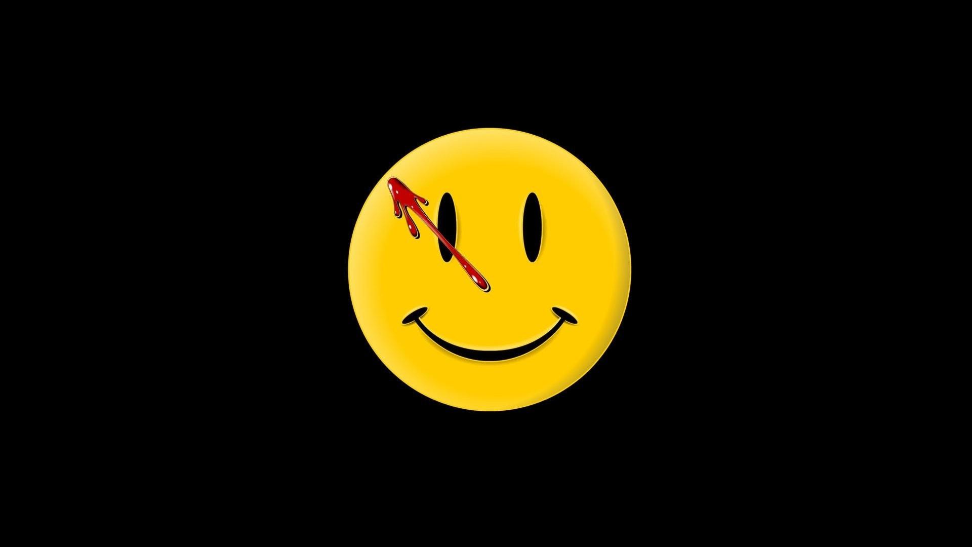 screenheaven: watchmen black background smiley face desktop and