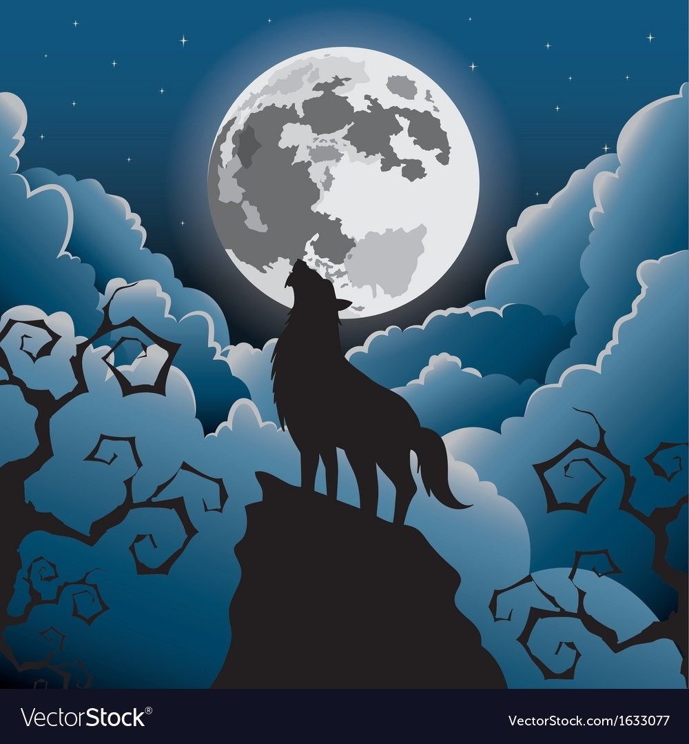 silhouette wolf howling at the moon royalty free vector