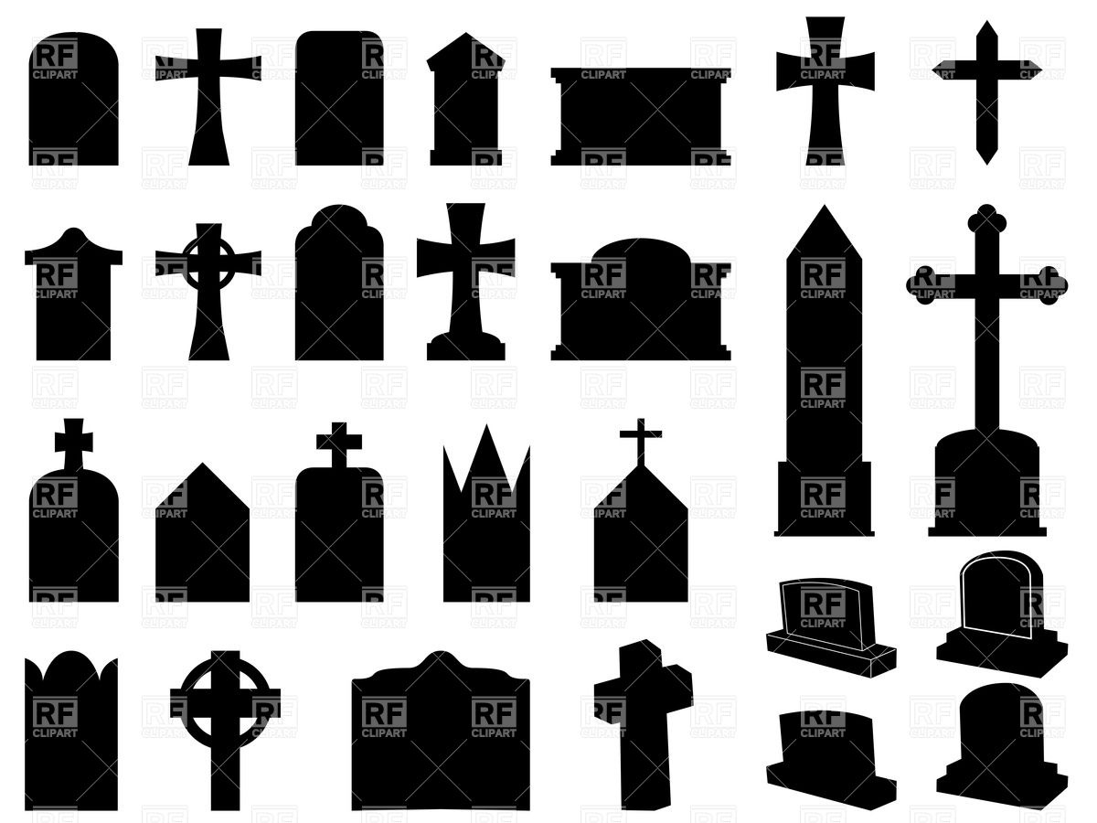 silhouettes of funerary gravestones (tombstone) and crosses royalty